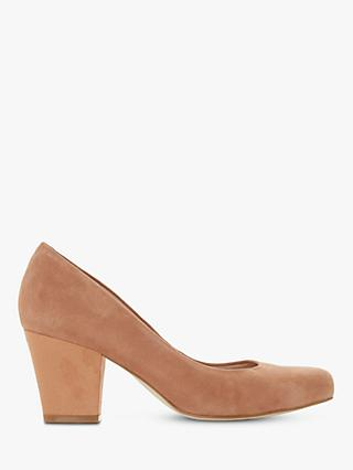 Dune Anthena Suede Block Heel Court Shoes, Brown Camel