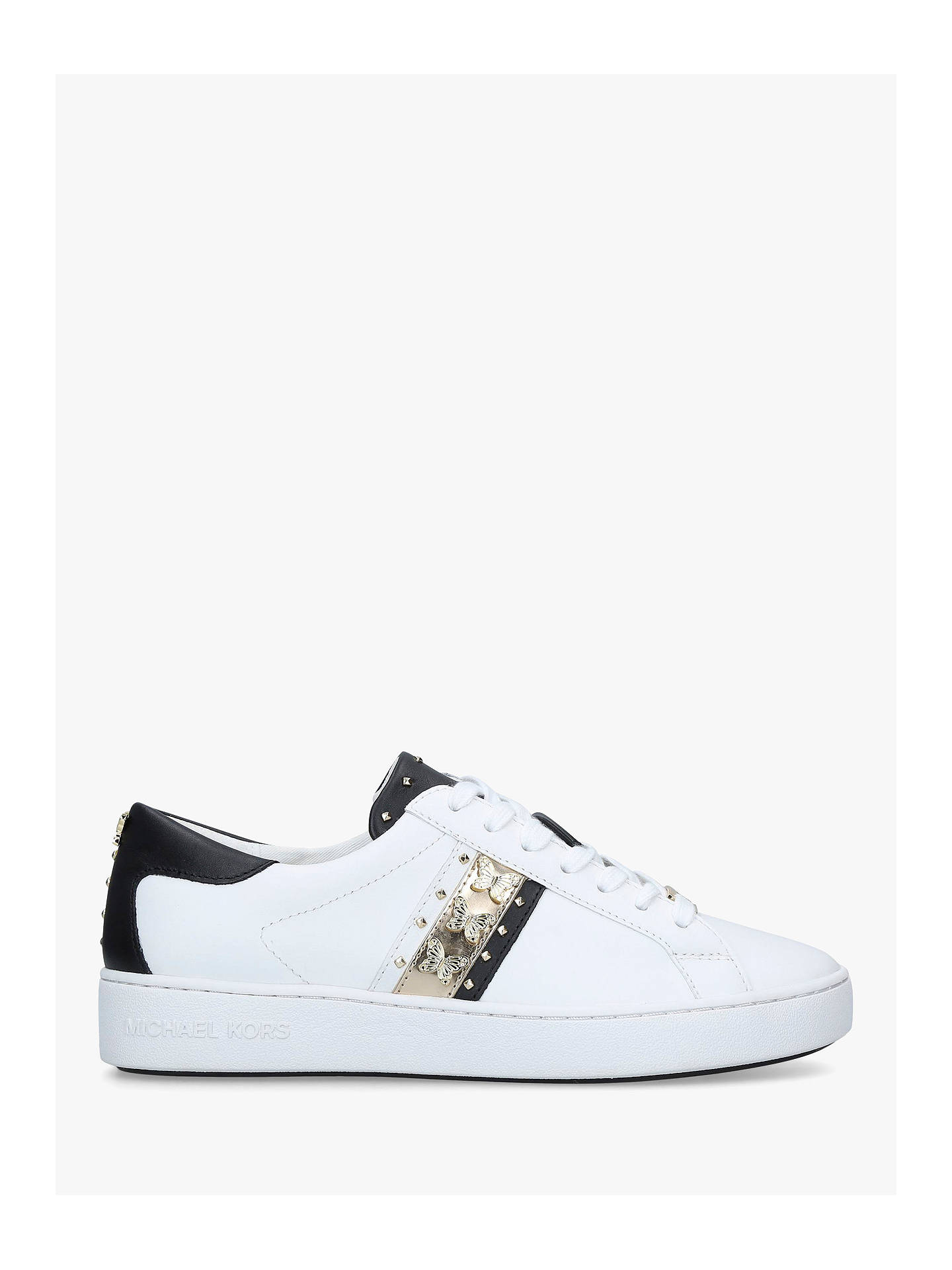 54151470407 Buy MICHAEL Michael Kors Keaton Stripe Embellished Lace Up Trainers, White  Leather, 3 Online ...