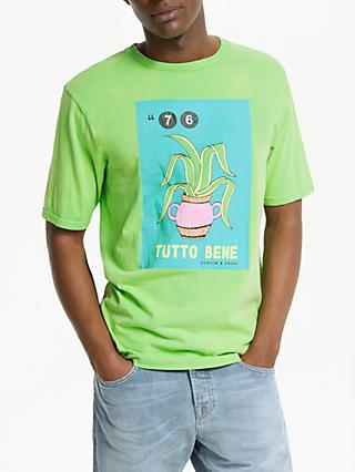 Scotch & Soda Washed Rocker Tutto Bene Graphic T-Shirt, Surf Green