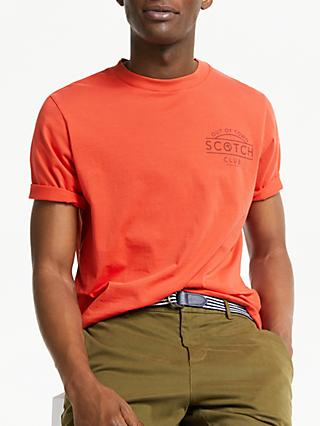 Scotch & Soda Logo Artwork T-Shirt, Chilli Red