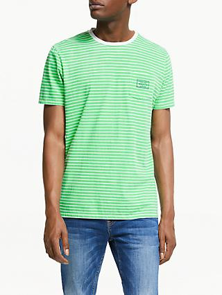 Scotch & Soda Garment Dye Stripe T-Shirt, Green