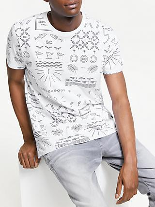 Scotch & Soda Crew Neck Fish Print T-Shirt, White