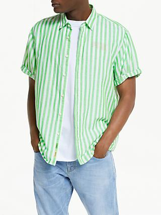 Scotch & Soda Short Sleeve Stripe Linen Cotton Shirt, Green