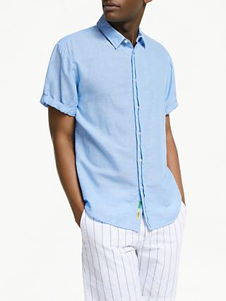 Scotch & Soda Short Sleeve Linen Cotton Shirt, Blue