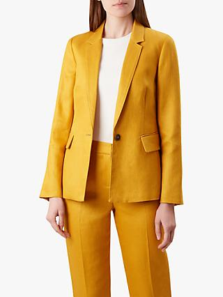 Hobbs Anthea Linen Jacket, Golden Yellow