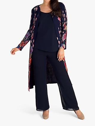 chesca Floral Coat, Navy/Multi