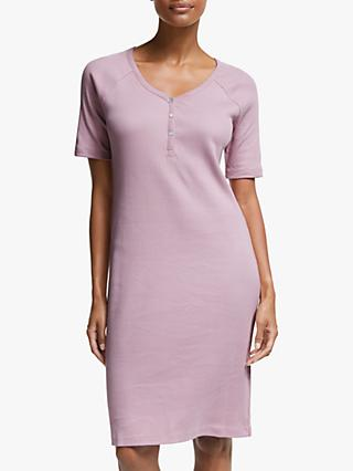 John Lewis & Partners Gigi Cotton Henley Nightdress, Pink