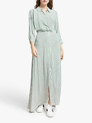 Y.A.S Striped Shirt Dress, Green/White