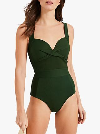 Phase Eight Lila Textured Swimsuit, Khaki