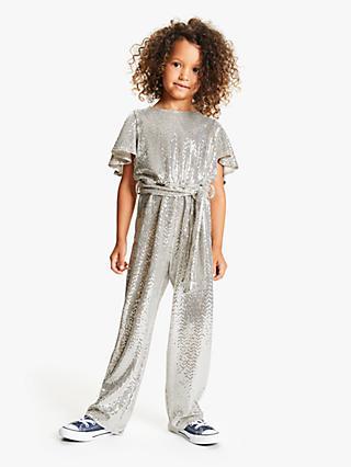 John Lewis & Partners Girls' Sequinned Jumpsuit, Silver