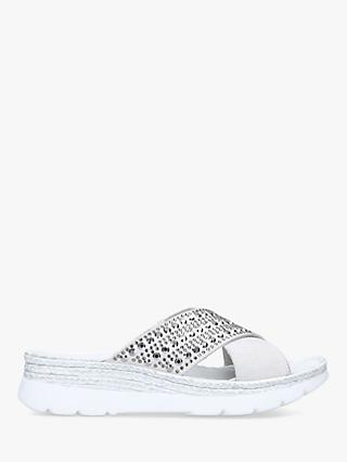 Carvela Comfort Serena Studded Chunky Sliders, White Suede