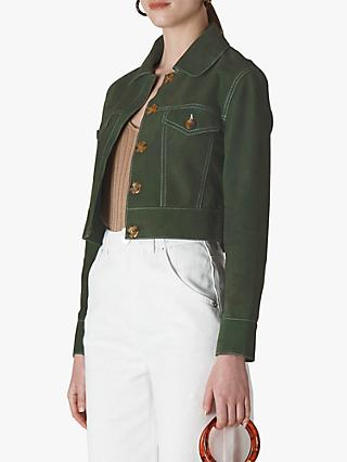 Whistles Grace Cropped Suede Jacket, Khaki