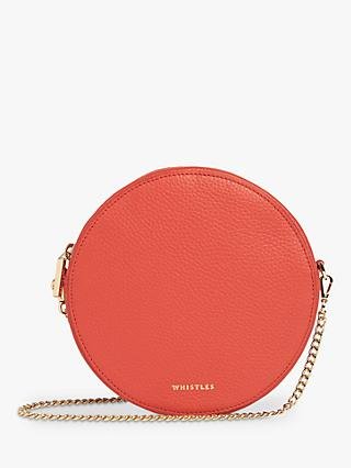 Whistles Brixton Circular Clutch Bag, Red Leather