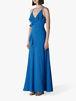 Whistles Lunar Spot Ruffle Maxi Dress, Bright Blue/Black
