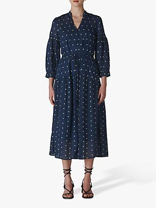 Whistles Valeria Embroidered Dress, Navy