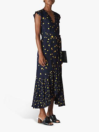 Whistles Daisy Chain Wrap Dress, Navy/Multi