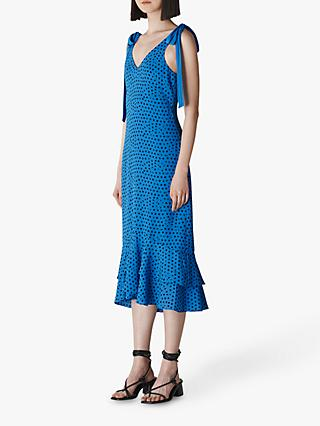 Whistles Lunar Spot Tie Shoulder Dress, Blue/Multi