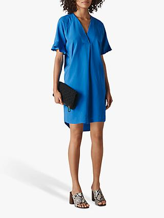 Whistles Alba Ruffle Sleeve Dress, Blue