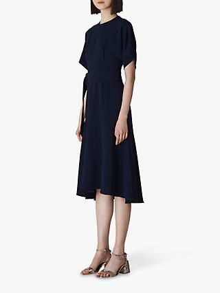 Whistles Belted Midi Dress, Navy