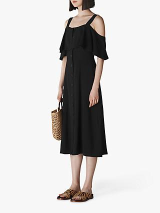 Whistles Frill Cold Shoulder Button Midi Dress, Black