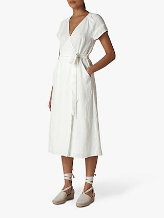 Whistles Linen Wrap Midi Dress, Ivory