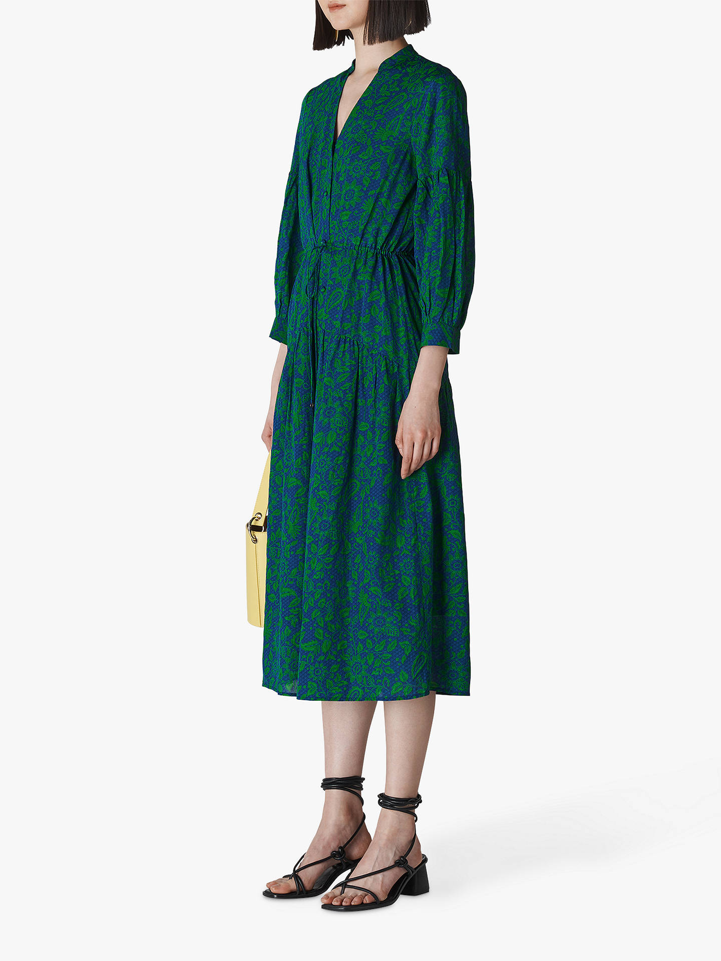 6715f702a918 Buy Whistles Valeria Henna Floral Print Cotton Dress, Green/Navy, 6 Online  at ...