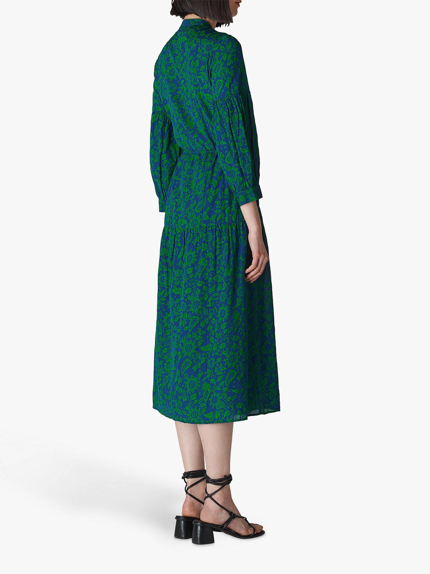 e9fece474afa ... Buy Whistles Valeria Henna Floral Print Cotton Dress, Green/Navy, 6  Online at ...