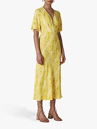 Whistles Python Print Midi Dress, Yellow/Multi