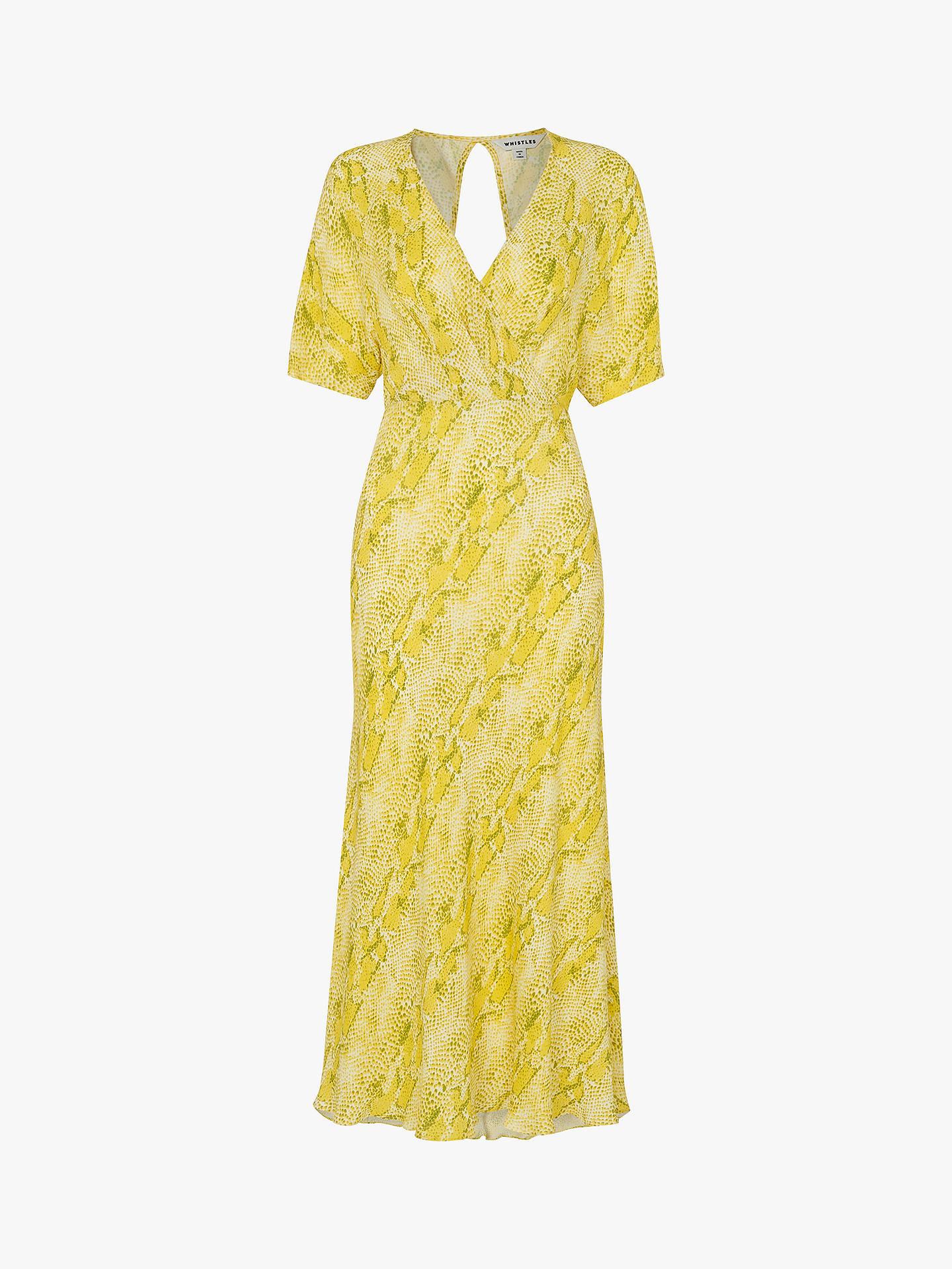 Whistles Python Print Midi Dress, Yellow/Multi