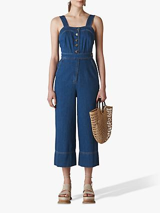 Whistles Tia Denim Button Detail Jumpsuit, Blue