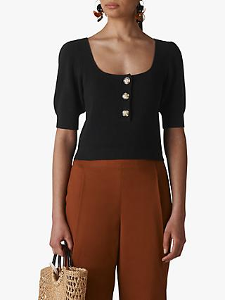 Whistles Square Neck Button Top, Black
