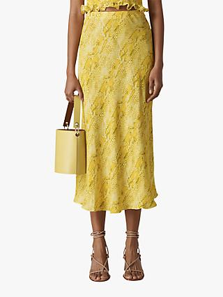 Whistles Python Print Bias Cut Skirt, Yellow