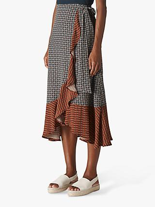 Whistles Geometric Frill Skirt, Natural/Multi