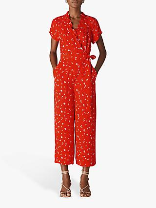 Whistles Daisy Chain Frill Jumpsuit, Red