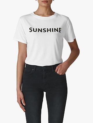 Whistles Sunshine Slogan T-Shirt, White