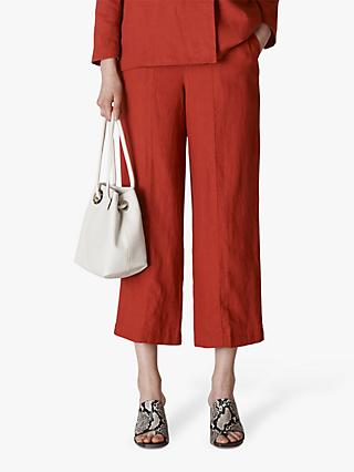 Whistles Linen Cropped Wide Leg Trousers