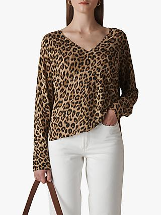 Whistles Leopard Print Linen Knit, Orange