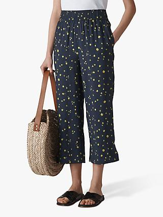 Whistles Daisy Chain Print Culottes, Navy/Multi