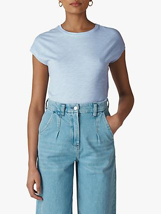 Whistles Minimal Cap Sleeve T-Shirt, Pale Blue