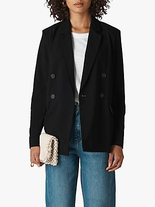 Whistles Relaxed Double Breasted Blazer, Black