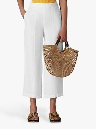 Whistles Cropped Wide Leg Linen Trousers, White