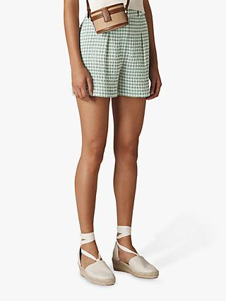 Whistles Gingham Shorts, Green/Multi
