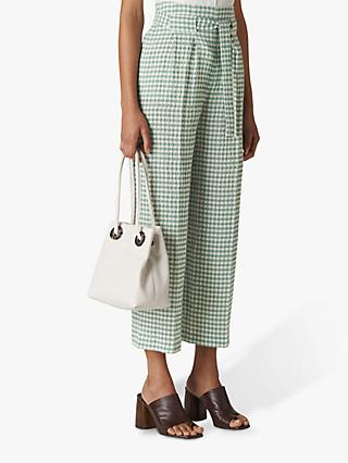 Whistles Belted Gingham Trousers, Green/Multi