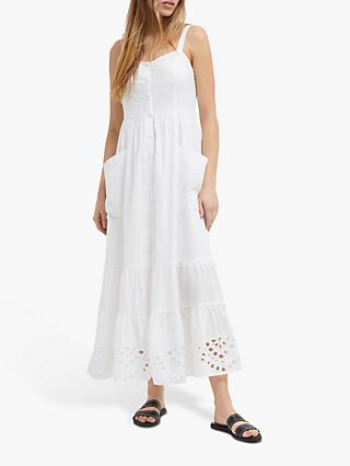 French Connection Ancolie Broderie Dress, Linen White