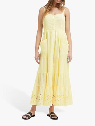 French Connection Ancole Broderie Cotton Dress, Super Lemon