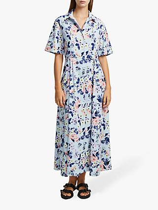 French Connection Cerisier Crepe Midi Shirt Dress, Light Dream Blue Multi