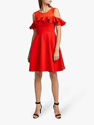 French Connection Alissa Cold Shoulder Dress, Flame