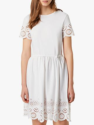 French Connection Santoline Broderie Dress, Linen White