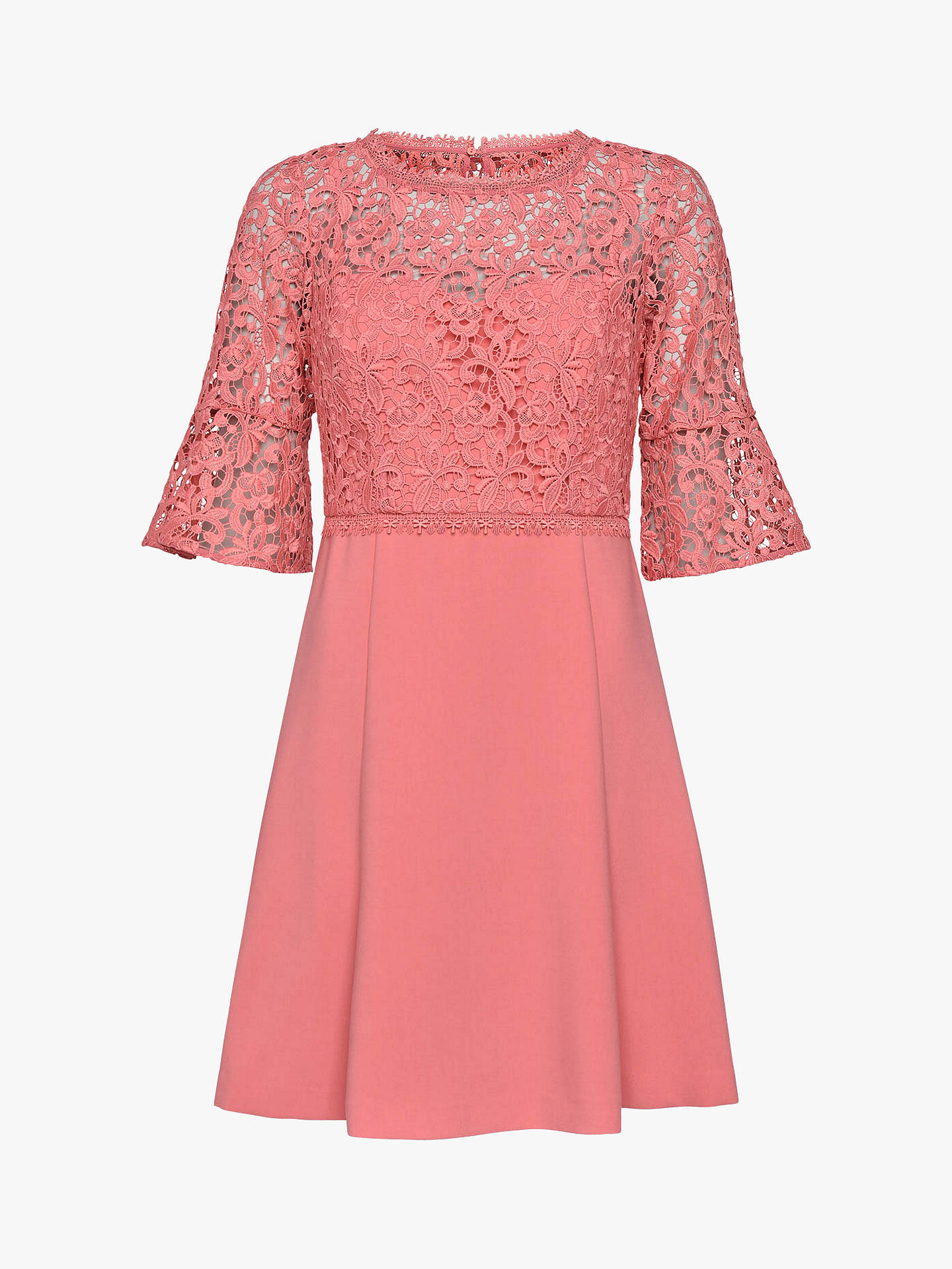 Buy French Connection Whisper Ruth Round Neck Dress, Pink Whip, 10 Online at johnlewis.com