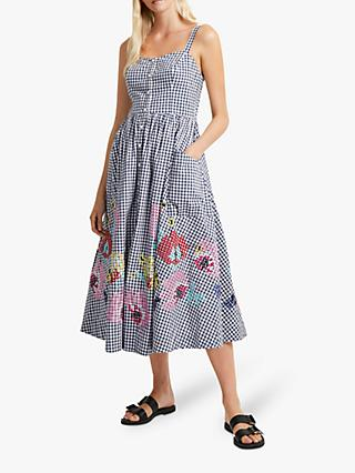 French Connection Lavande Gingham Midi Dress, Indigo/Summer White